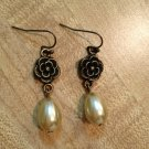 Earrings- Antique Brass Flower Findings with Cream Tear Drop Pearls