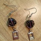 Earrings- Silver hooks, Purple spade beads with silver wire , silver rectangles