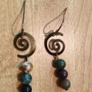 Earrings-Nickel-Free Brass hooks, brass Spirals with mixed neutral beads