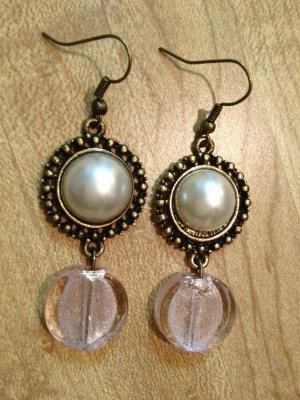 Earrings- Antique Brass Pearl Broach with Soft Pink Glass Round Dangle