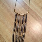 Necklace- Hand-Beaded Gold, Gunmetal and Navy with Antique Brass Finding, Chain and lobster clasp