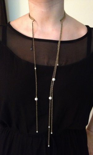 Necklace- Antique Brass Choker with Open Front and Dangling Chains and pearls