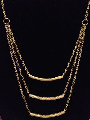 Bib Necklace- Gold layered necklace with Gold Tubes