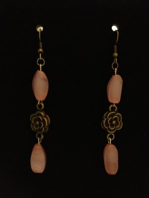 Earrings- Antique Brass French hooks, Antique brass flower findings with pink oval beads