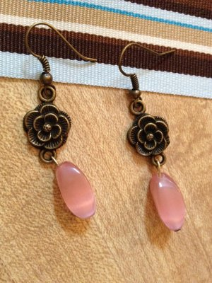 Earrings-  Brass hooks, brass flower findings with pink ovals