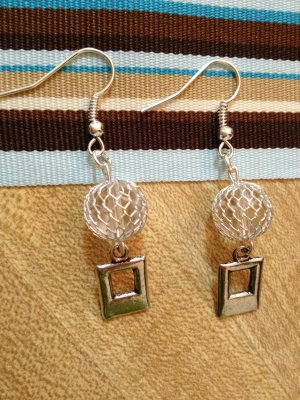 Earrings- Silver Wire-Wrapped Clear Spheres with Double Rectangulars