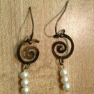 Earrings-Nickel-Free Brass hooks, brass Spiralswith white pearls