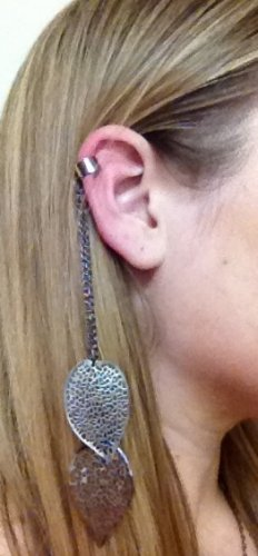 Ear Cuff- Gunmetal Cuff with Gunmetal Chains and Dangling Leaves