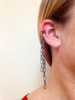 Ear Cuff- Gunmetal Cuff with Gunmetal Chains Dangling