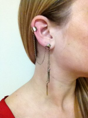 Ear Cuff- Antique Brass Cuff with looped chain to Piercing, Brass Chains and brass spikes