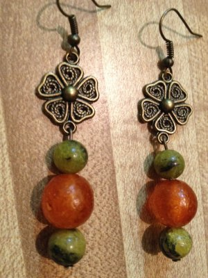 Earrings- Nickel-Free Antique Brass French hooks, Brass Vintage Flowers w- Green, Orange  beads