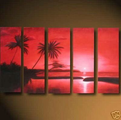 "Modern seascape OIL PAINTING ""ocean sunrise"" 481"
