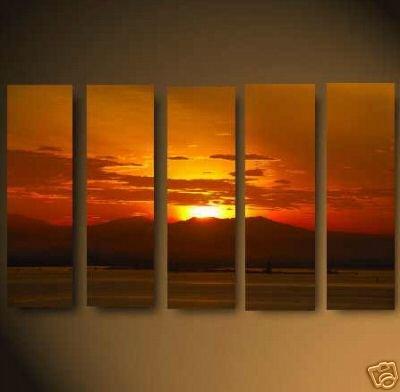 "Modern sunset glow OIL PAINTING ""ocean sunrise"" 706"