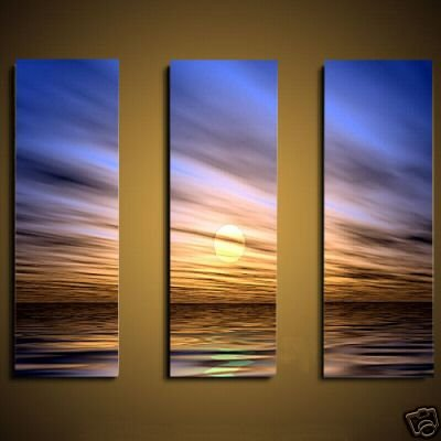 Modern seascape oil painting on Canvas setting sun472