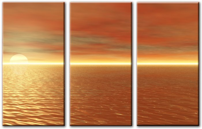 Modern seascape oil paintings on Canvas sunglow 053