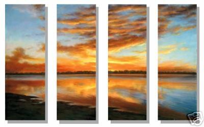 "Modern seascape oil painting on Canvas ""sunglow237"""