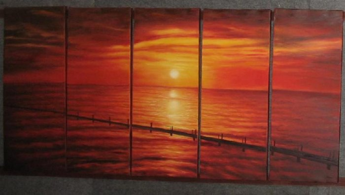 "Dafen Modern seascape oil painting on Canvas ""sunglow501"""