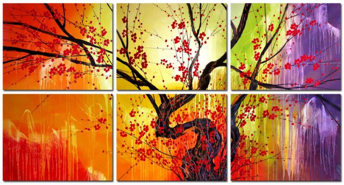 Modern oil painting on Canvas flower painting set415