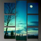 Modern oil painting on Canvas  sunset glow painting 655
