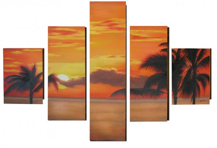 Modern oil painting on Canvas sunset glow painting set 316