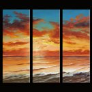Modern oil painting on Canvas sunset glow painting set385