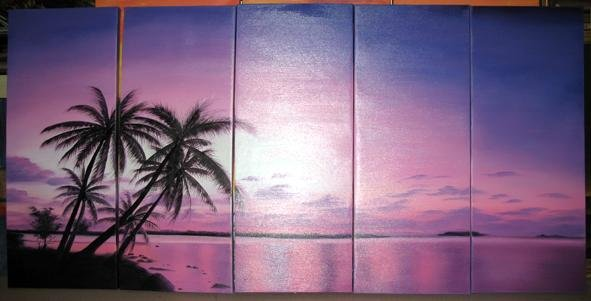 Modern oil painting on Canvas seascape painting set444