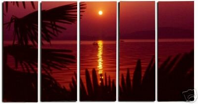 Modern oil painting on Canvas sunset glow painting set 458