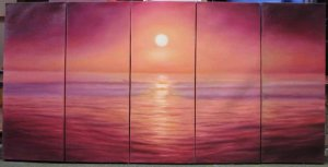 Modern oil painting on Canvas sunset glow painting set546