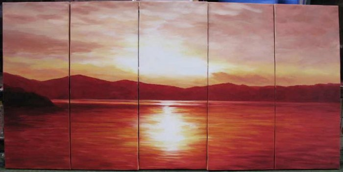 Modern oil painting on Canvas sunset glow painting set547