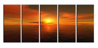 Modern oil painting on Canvas sunset glow painting set587