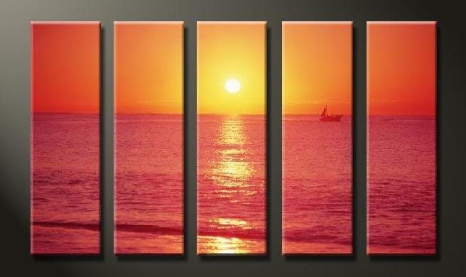 Modern Contemporary oil paintings on Canvas sunset glow painting set625