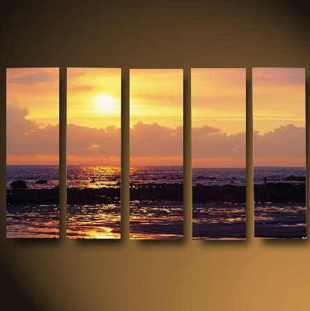 Modern Contemporary oil paintings on Canvas sunset glow painting set627