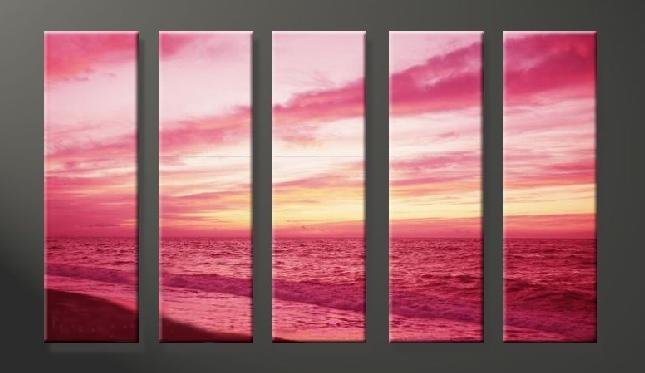 Modern Contemporary oil paintings on Canvas sunset glow painting set629
