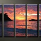 Modern Contemporary oil paintings on Canvas sunset glow painting set631