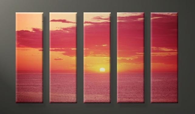 Modern Contemporary oil paintings on Canvas sunset glow painting set632