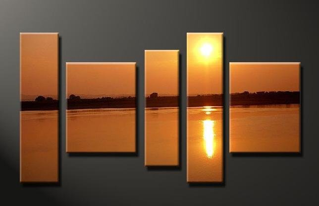 Modern Contemporary oil paintings on Canvas sunset glow painting set639