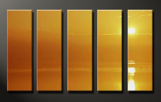 Modern Contemporary oil painting on Canvas sunset glow painting set 641
