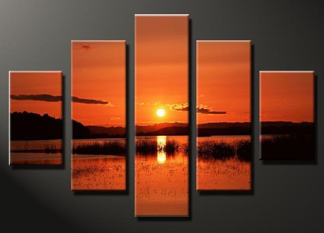 Modern Contemporary oil painting on Canvas sunset glow painting set 646