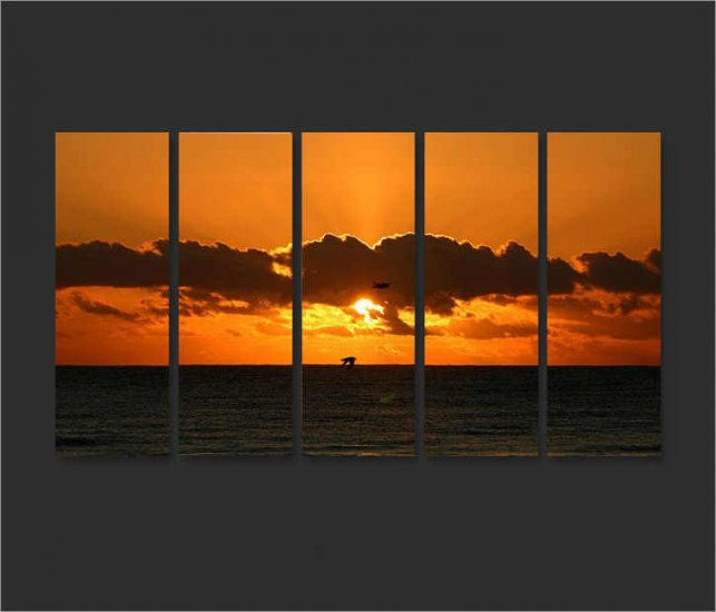 Modern Contemporary oil painting on Canvas sunset glow painting set 658