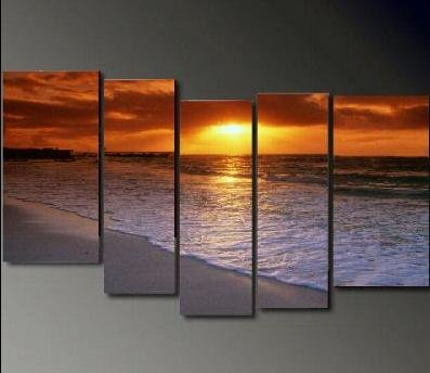 Modern Contemporary oil paintings on Canvas sunset glow painting set686