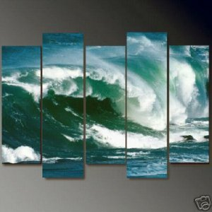 Modern Contemporary oil paintings on Canvas seascape painting set699