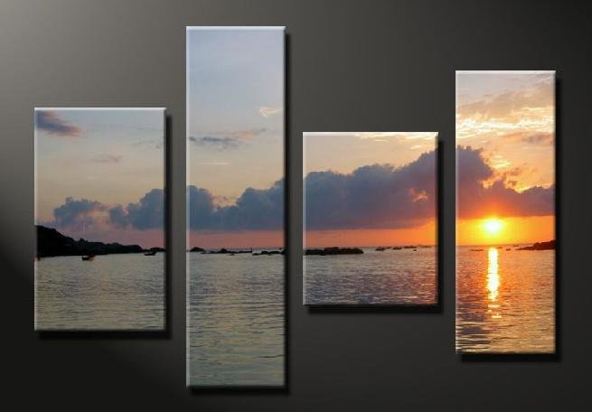 Modern Contemporary oil paintings on Canvas sunset glow painting set 645
