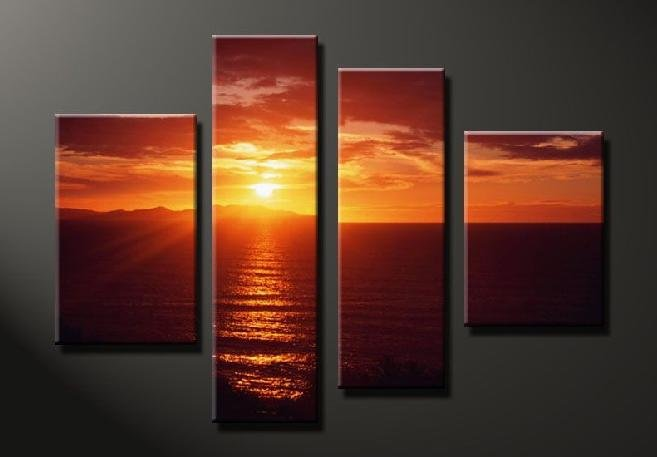 Modern Contemporary oil paintings on Canvas sunset glow painting set 647