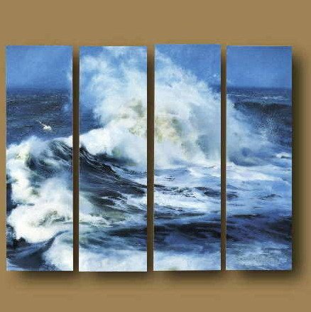 Modern Contemporary oil paintings on Canvas seascape painting set 667