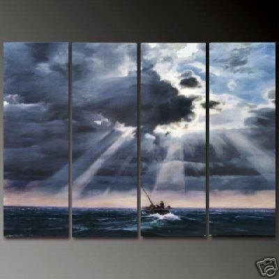 Modern Contemporary oil paintings on Canvas seascape painting set 668