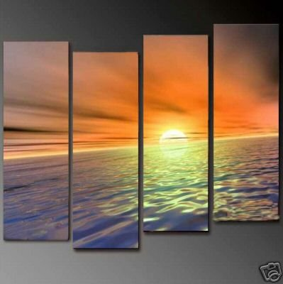 Modern Contemporary oil paintings on Canvas sunset glow painting set 677