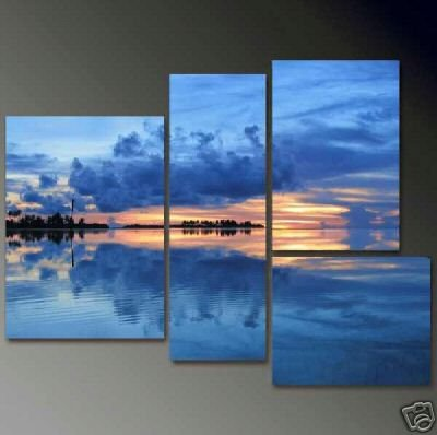 Modern Contemporary oil paintings on Canvas sunset glow painting set 687