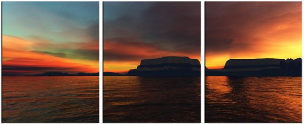 Modern Contemporary oil paintings on Canvas sunset glow painting set 081