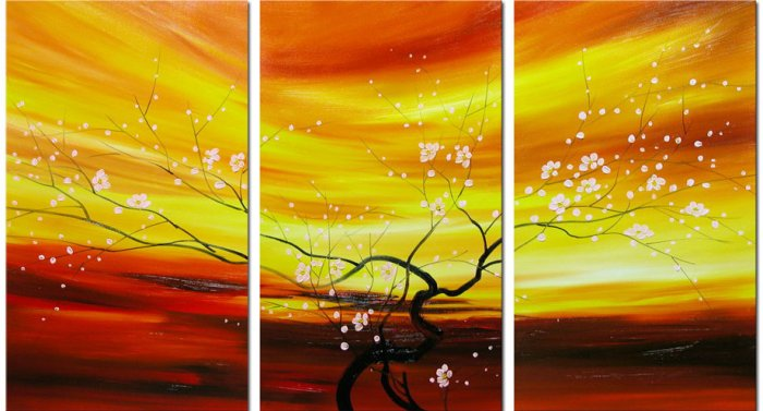Modern Contemporary oil paintings on Canvas flower painting set 089