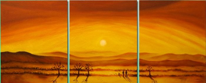 Modern Contemporary oil paintings on Canvas sunset glow painting set 104